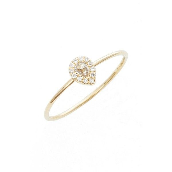 Women's Ef Collection Teardrop Diamond & Topaz Stack Ring (1949850 PYG) ❤ liked on Polyvore featuring jewelry, rings, yellow gold, 14k stackable rings, pave diamond ring, stackable rings, 14 karat diamond ring and 14k ring