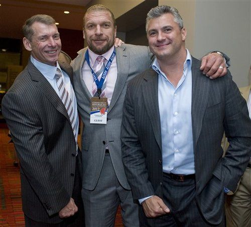 Vince McMahon, Triple H, Shane McMahon together...not something u u see everyday.