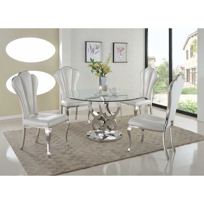 Geir Glam 5 Piece Dining Set Upholstered Dining Side Chair Side Chairs Dining Dining Room Sets