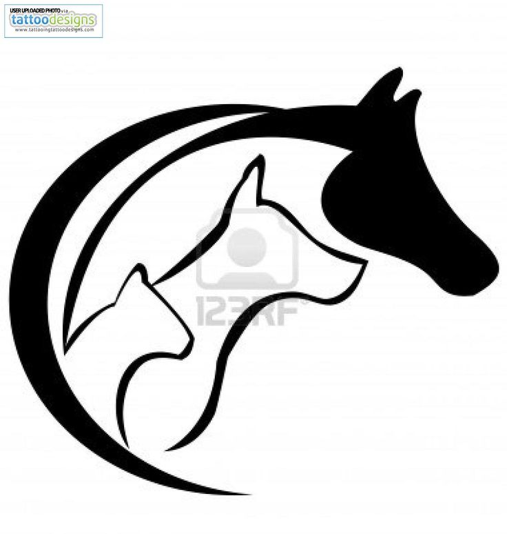 Dog and cat silhouette tattoo - photo#14