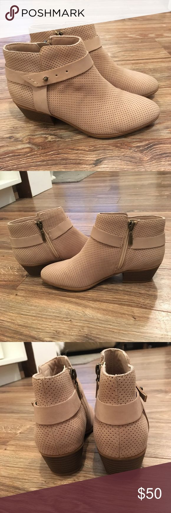 Clark's size 6 Sand colored Bootie Great quality, comfortable bootie!! Tan/ Sand colored. Never been worn outside. One of those things you order online and never end up wearing 😅🤷🏼‍♀️ You can even have the original box! Make me an offer! 😊 Clarks Shoes Ankle Boots & Booties