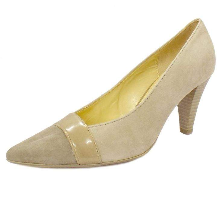 Gabor Shoes | Erskine Ladies Beige Suede Court Shoes | Mozimo