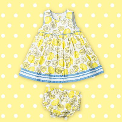Pumpkin Patch Lemon Spot Dress with Knickers - available in sizes 0-3m to 24m http://www.pumpkinpatchkids.com/