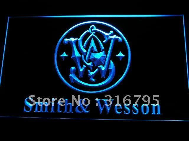 Smith & Wesson Gun Firearms Logo LED Neon Light Sign Man Cave D239-B #Unbranded #Modern