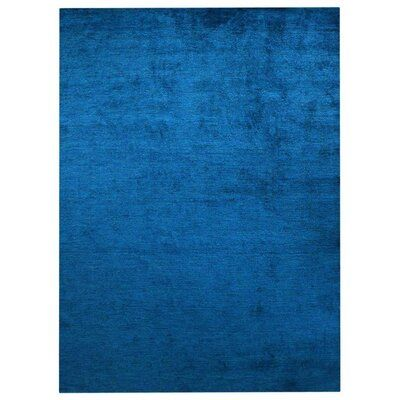 Ebern Designs , Rectangle 6′ x 9′ Modern Hand Knotted Anthonyville Silk Carpet Indian Oriental Solid Blue Area Rug
