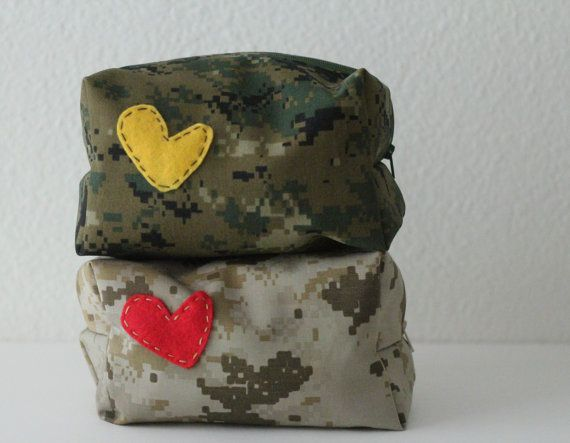 MARINE PARENTS: Make-up or toiletry bags made out of old uniforms. www.operation…