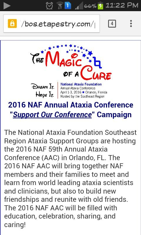 """National Ataxia Foundation-NAF An organization which support and encourage the research regarding ataxia disorders. For example,they sponsors and supports group research from USA and Canada. Besides that, they published a quartery newsletter and education literature on various form of ataxia. Come and join the 2016 NAF Annual Ataxia Conference """"Support Our Conference"""" Campaign on April 2016!! May God bless you all Picture by: NAF"""
