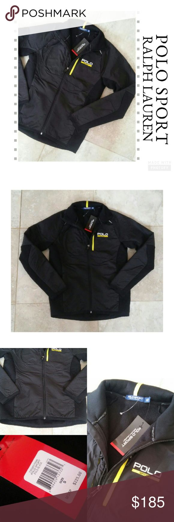{Polo Sport Ralph Lauren} Hybrid Tech Jacket New with tags! Polo Sport Ralph Lauren Hybrid Tech Jacket Black & yellow Two front pockets & chest pocket Backside has zippered pocket Size small  MSRP $225 Polo Sport Ralph Lauren Jackets & Coats Performance Jackets