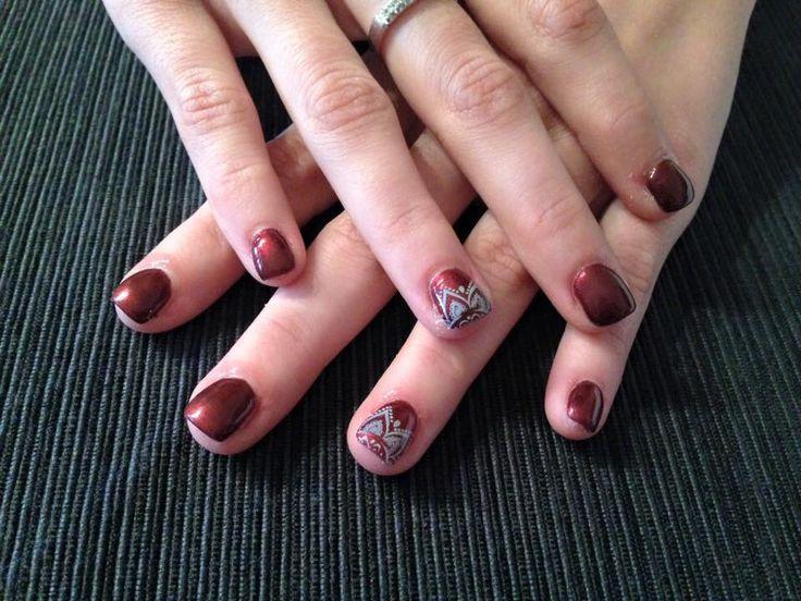 #nails #madebyme #bordeux #metallizzato #stamping unghie onicofagiche
