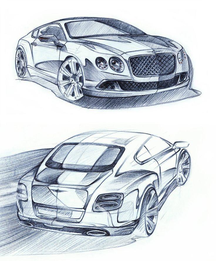 Bentley Continental GT crayons 2X 42x29cm drawn in 2012  by Łukasz Mroczkowski