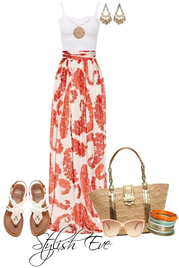 Long maxi skirt, white blouse, ear rings, hand bag, sun glasses and sandals. Perfect for so many occasions!