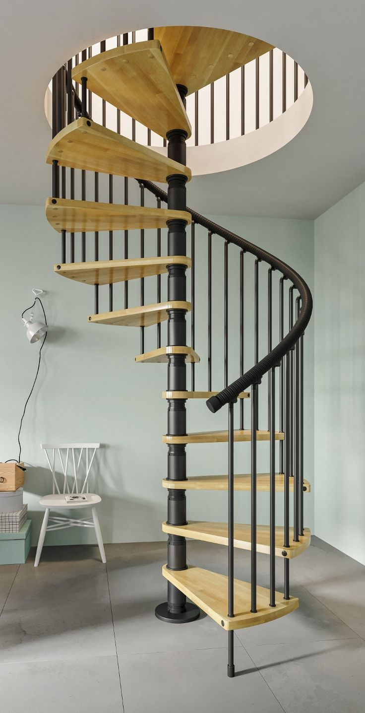 gamia wood spiral stair kit complete with solid beech treads and black