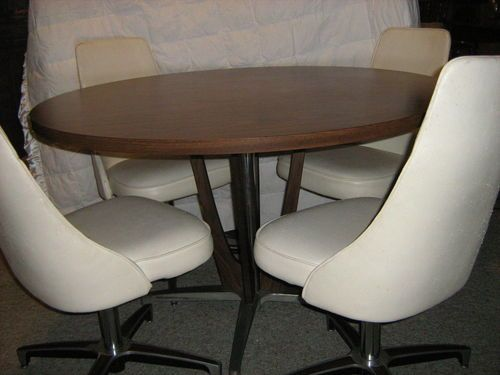 Vintage chromcraft dining set dinette round table swivel for Dining room table with swivel chairs