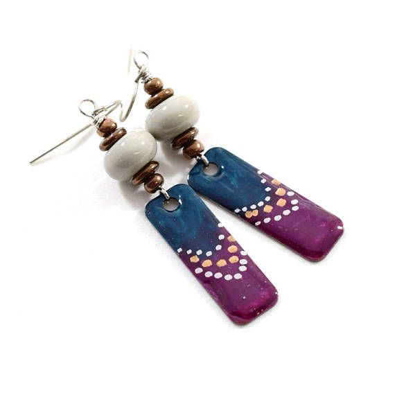 Teal Plum and Gray Boho Chic Earrings Paint and Resin