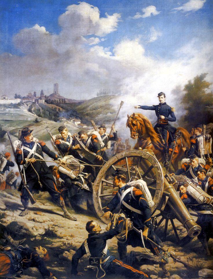 French artillery in battle, Franco-Prussian War