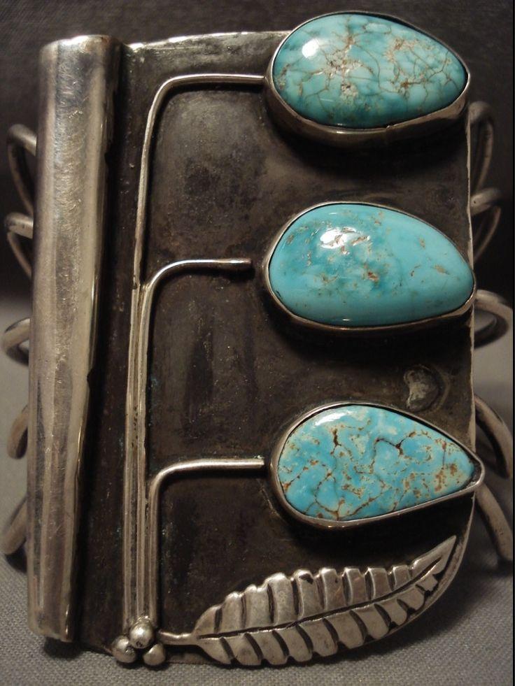 "Vintage Navajo ""Tree of Life"" Turquoise Silver Bracelet"