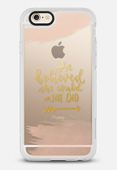 She Believed She Could So She Did - Watercolor & Gold iPhone 6 case by Julie Dwyer Brody | Casetify