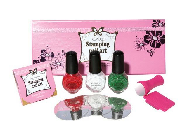 Convenient packages of KONAD Stamping Nail Art kits for you to choose from. There is a kit suitable for every one. You can start creating beautiful nails right away with any of these kits. All necessary equipments like stamp, scraper, image plate and special polish are included.