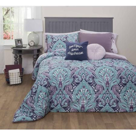 Formula Mia Damask Bed-in-a-Bag Bedding Set, Queen - Walmart.com