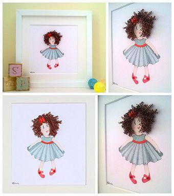 Quilled Rag Dolly.  Perfect Gift for little girls bedroom.   www.quillartuk.etsy.com  #nurserywallart #nurserydecor #uniquenurseryideas  #childsplayroom