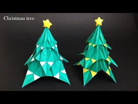 折り紙 クリスマスツリー 立体 折り方(niceno1)Origami Christmas tree 3D - YouTube