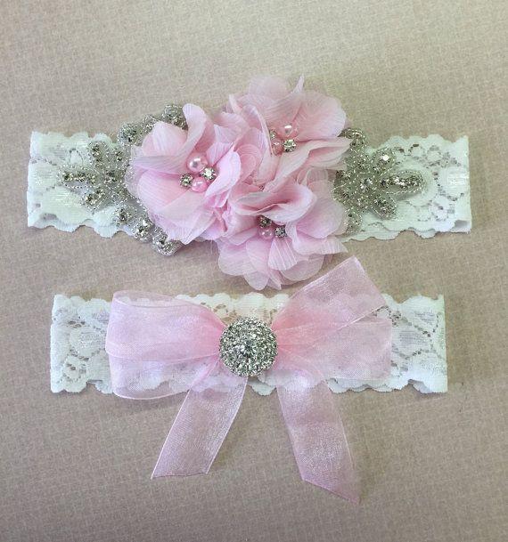 Choose your color ,  wedding garter with bling , bridal garter , blush pink wedding garter
