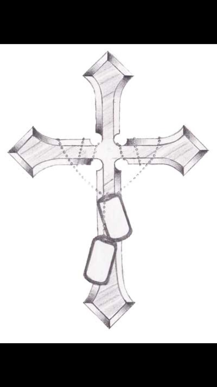 Cross with dog tags tattoo