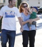 Jenna Fischer and husband Lee Kirk take their son Weston grocery shopping at Ralph's in Los Angeles, California on September 1, 2012.
