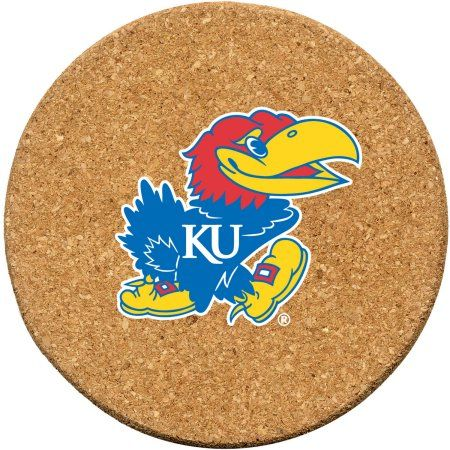 Set of Six Cork Coasters, Coaster Set, University of Kansas, Multicolor