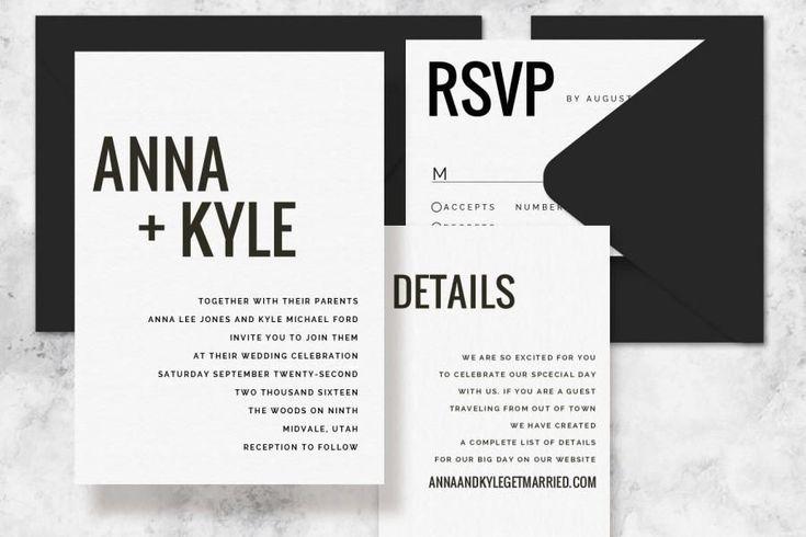Modern Minimalist Printable Wedding Invitation Set - Wedding Invitation Template for Word #weddinginvitation