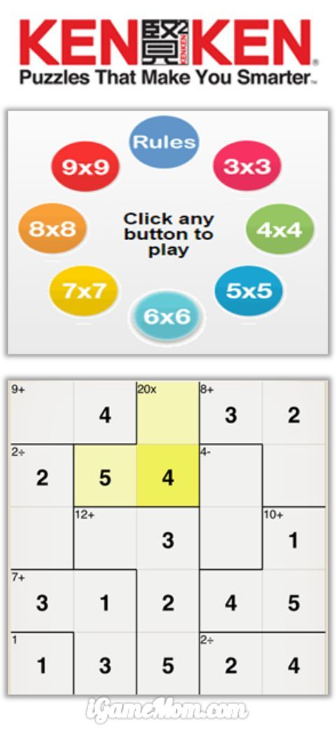 A fun math logic game for kids in elementary to high school, kids develop math skills, logic thinking, and concentration stamina. Parents and teachers can sign up weekly free news letters with KenKen game challenges tailored at your children's level.