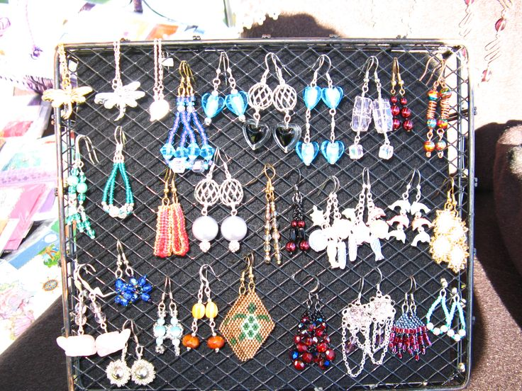 2015 Earrings I made for sale on display at a craft fair.