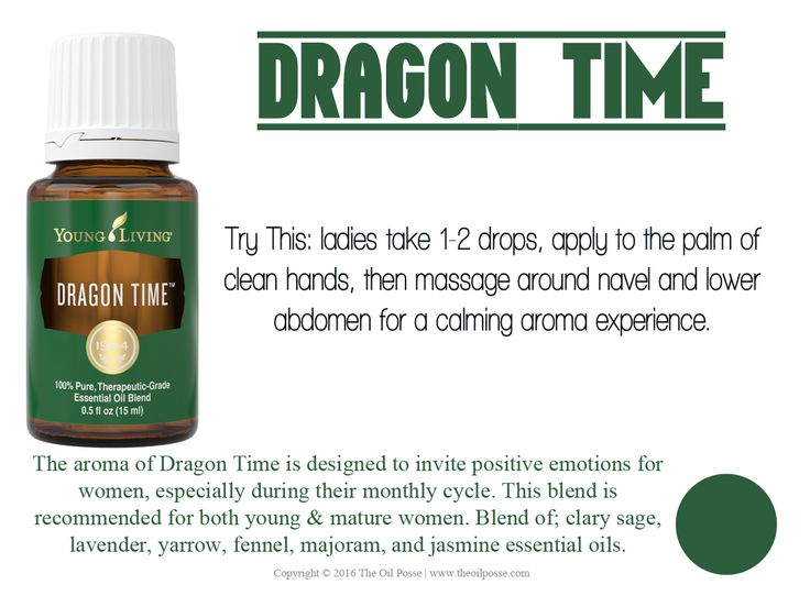 The aroma of Dragon Time is designed to invite positive emotions for women, especially during their monthly cycle.