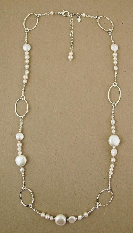 Sterling and white pearl necklace by Ian Gibson