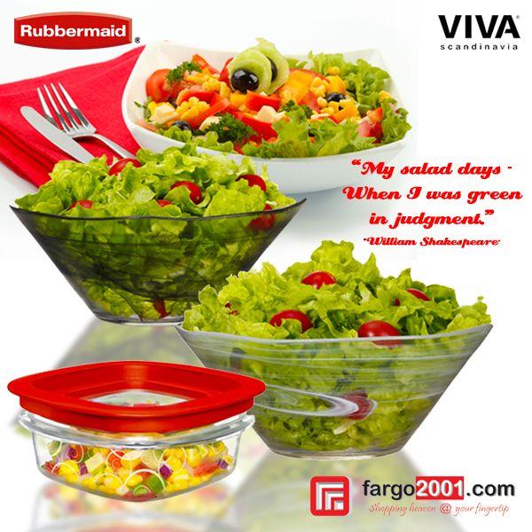 Pastikan salad Anda terlihat cantik, tersusun rapi, dan tetap segar dengan perlengkapan salad dari Viva Scandinavia & tempat penyimpanan makanan dari Rubbermaid ! http://fargo2001.com/housewares-315