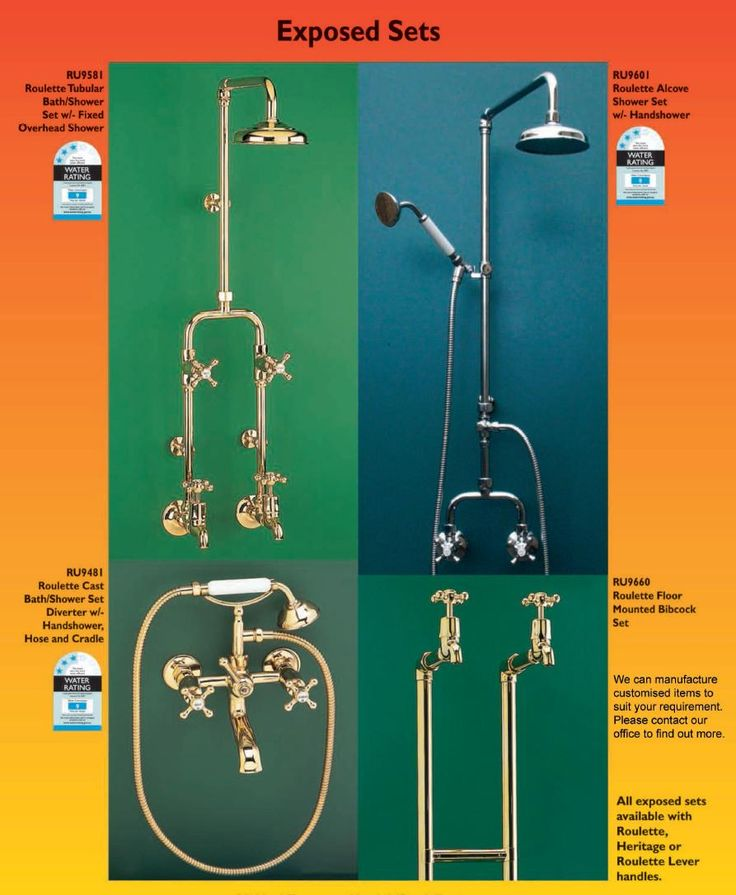Retro Roulette Period tapware include exposed shower and bath set with 'telephone style' hand held shower, decorative English Olde Adelaide style spout, twinners and mixers. Range of finishes includes Polished Brass, Brushed Satin, Antique Brass, Brushed Antique Brass, Chrome, Raw Brass, Polish to Plate, Various Copper Finishes, and 24 Carat Gold. More from website www.bathroomsnkitchens.com.au