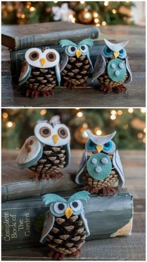 Pinecone Owls - 20 Magical DIY Christmas Home Decorations You'll Want Right Now by VenusV