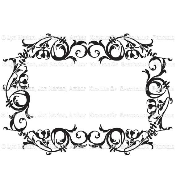 Swirl Borders For Wedding Invitations: Swirly Scroll Calligraphic Border Stamp. Perfect DIY