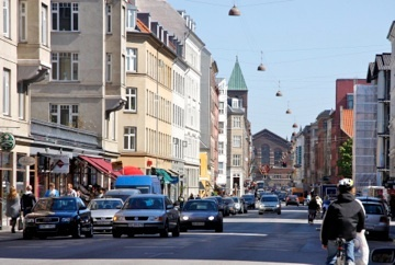 Istedgade is a colorful main street of Vesterbro  with a multicultural atmosphere. Here facing the Central Station.