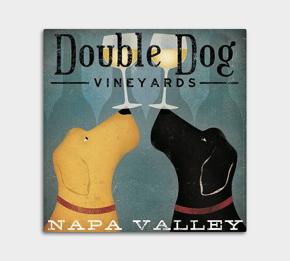 CUSTOM PERSONALIZED Double Dog Wine Vineyards Stretched Canvas Wall Art  inches Ready-to-Hang