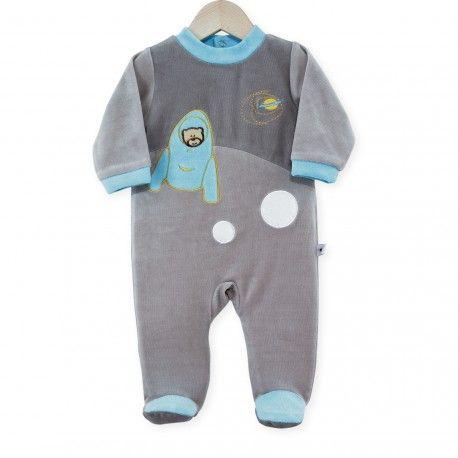 """Pijama """"Planeta Sueño"""" #pijama #bebe #planeta #blanco #gris #azul #kinousses"""