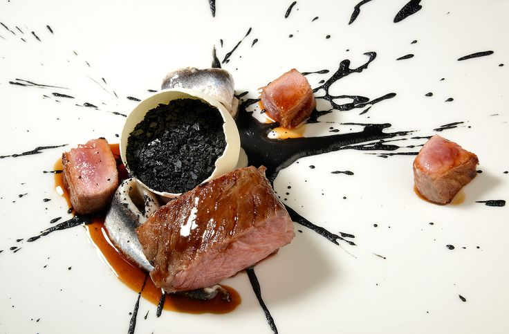 Iberico pork, almond and black garlic. Matched with Meandro do Vale Meão, Francisco Javier de Olazabal, Douro, Portugal, 2014. Dish by Michael O'Hare for Obsession 2017 held at Northcote hotel, UK. Photography by Allen Markey.