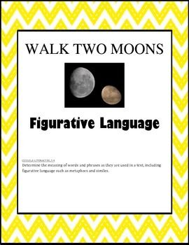 best walk two moons images walk two moons  figurative language task cards walk two moons