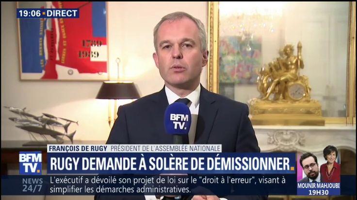"""Rugy: """"L'intérêt de l'Assemblée nationale serait que Solère abandonne la questure"""""""