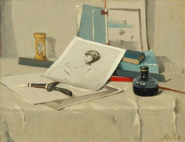 Regteren Altena M.E. van | Stilleven met figuurschets, olieverf op doek 46,1 x 60,0 cm, gesigneerd r.o. met initialen en te dateren ca. 1915