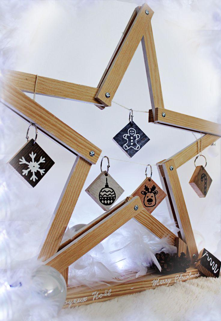 Idée créative DIY pour Noël : des tasseaux en Pin de Gascogne, des pampilles en Parement landais Imberty, quelques accessoires et le tour est joué! Oh ! Ma belle étoile de Noël !
