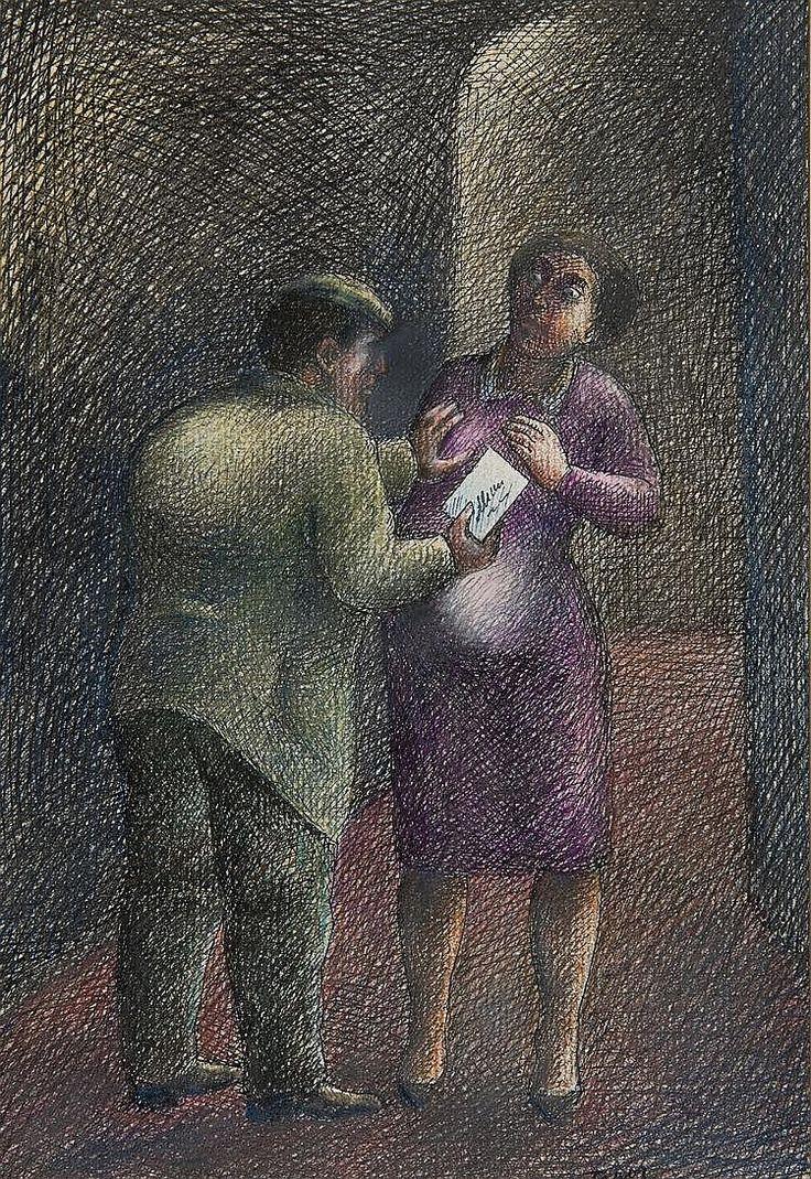 Topor  Roland (1938-1997). Aller-retour - Round trip (1977), India ink and colour pencil,  23,5 x 16,2 cm
