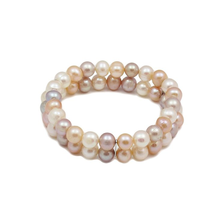 Brățară dublă ZEEme argint cu perle de cultură alb caisă liliac