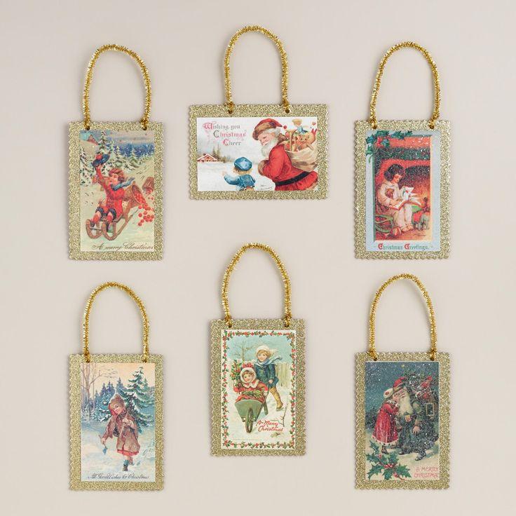Vintage Reproduction Postcard Ornaments, Set of 6 ...