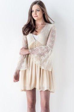 Lace Bohemian Bell Sleeve Swing Dress